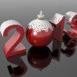 New year 2013 in snowy numbers with a christmas ball — Stock Photo