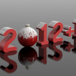 Stock Photo: New year 2013, 2012+1 in snowy numbers with a christmas ball