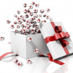 Gift box emitting little gift boxes — Stock Photo #15820497