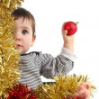 Stock Photo: Eight months baby inside a box showing a christmas ball