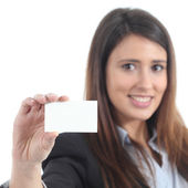 Beautiful woman showing a blank card — Stok fotoğraf