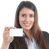 Beautiful woman showing a blank card — Foto de Stock