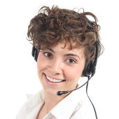 Beautiful and happy telephonist woman — Stock Photo