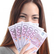 Woman holding and showing a lot of five hundred euro banknotes — Stock Photo