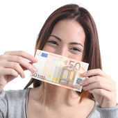 Woman showing a fifty euros banknote — Stock Photo