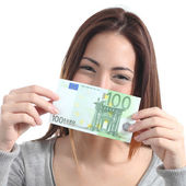 Woman showing a one hundred euros banknote — Stock Photo
