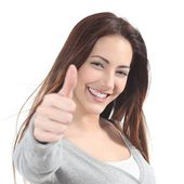 Portrait of a beautiful teen with thumb up gesture — Stock Photo