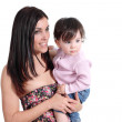 Attractive mother holding her daughter baby and watching at side — Stock Photo #24397327