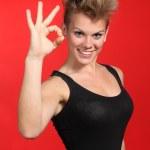 Beautiful fashion woman making ok gesture — Stock Photo #25822283