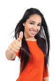Beautiful muslim teenager girl with thumb up — Stock Photo
