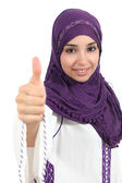 Arabian woman wearing a hijab with thumb up — Stock Photo
