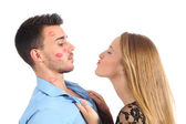 Woman trying to kiss a man desperately — Stock Photo
