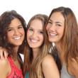 Stock Photo: Group of three women laughing and looking at camera