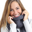 Close up of a beautiful woman smile wearing winter clothing — Stockfoto
