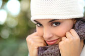 Beautiful arab woman portrait warmly clothed — Stock Photo