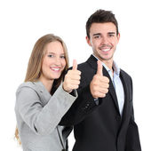 Two businesspeople agree with thumb up — Stock Photo