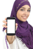 Arab woman displaying an app blank smart phone screen — Stock Photo