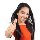 Beautiful woman with perfect white smile with thumb up — Stock Photo