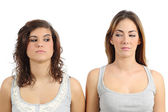Two girls looking each other angry — Stock Photo
