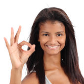 Beautiful african american model woman gesturing ok — Stock Photo