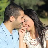 Arab casual couple flirting laughing happy in a park — Stock Photo