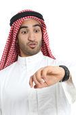 Arab saudi emirates man looking his watch too late — Stock Photo