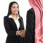 Arab saudi business man and woman handshaking — Stock Photo
