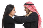 Arab saudi business man and woman competition — Stock Photo