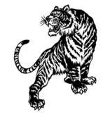 Japanesque tiger — Stock Vector