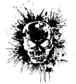 Splatter and the skull — Stock Vector