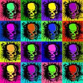 Splatter and the skull — Stock Vector