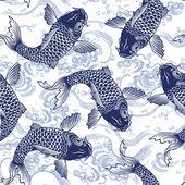 Japanese carp,  seamlessly — Stock Vector