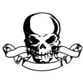Ribbon and the skull — Stock Vector
