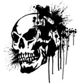 Skull and paint, — Vettoriale Stock