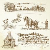 Paysage rural, agriculture, village — Vecteur