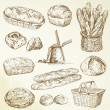 Stock Vector: Bakery, bread - hand drawn set