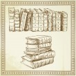 Books - hand drawn set — Stock Vector