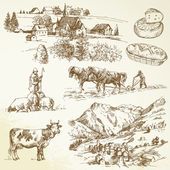 Farm, agricultural village - rural landscape — Vector de stock