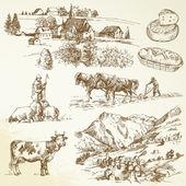 Granja, pueblo agrícola - paisaje rural — Vector de stock