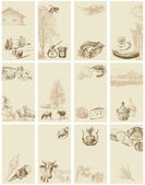 Cartões vintage - entrega a coleção desenhada — Vetorial Stock