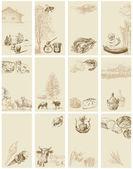 Tarjetas vintage - colección dibujada a mano — Vector de stock