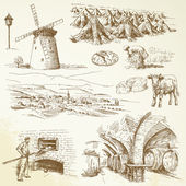 Jordbruk, lantlig by — Stockvektor
