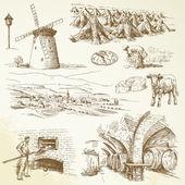 農業、田舎の村 — ストックベクタ