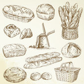 Bakery, bread - hand drawn set — Stockvektor