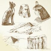 Egipto - conjunto dibujados a mano — Vector de stock