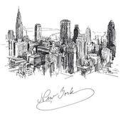 New york - hand drawn metropolis — Stock Vector