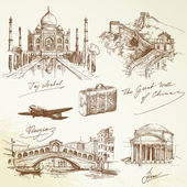 Sur le voyage du monde - vector illustration — Vecteur