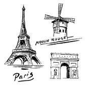 Paris, France - Eiffel Tower - hand drawn collection — Stock Vector