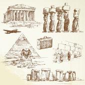 Dünyanın her yerinde seyahat - çizilmiş koleksiyonu el — Stok Vektör