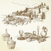 Vino, viña, toscana - colección dibujada a mano — Vector de stock